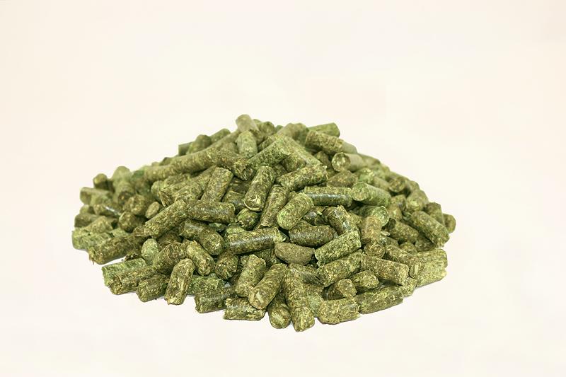 Luzerne-Pellets als Futter für Geflügel, speziell Hühner und Puten, eingesetzt auch in der Mast (Hühner- und Putenmast)