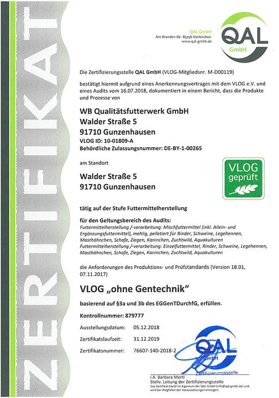 Zertifikat VLOG geprüft Standort Gunzenhausen