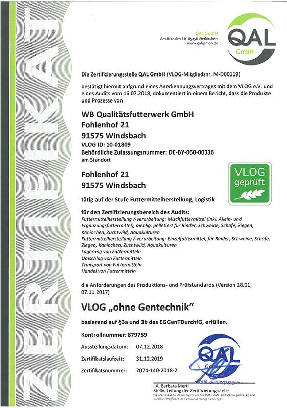 Zertifikat VLOG geprüft Standort Windsbach