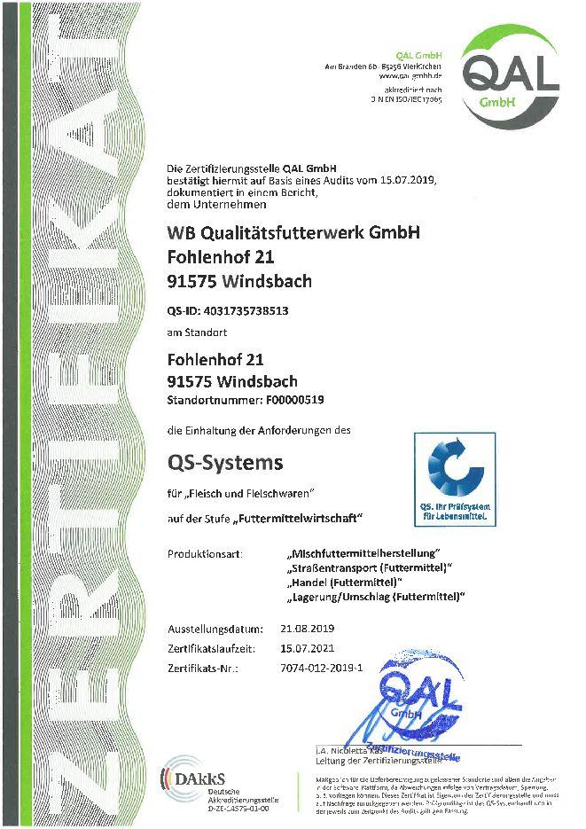 QS Zertifikat Qualitätsfutterwerk Windsbach