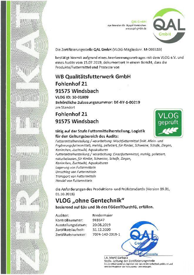 VLOG Zertifikat Standort Windsbach Qualitätsfutterwerk