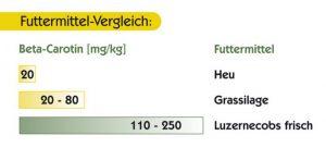 Futtermittel-Vergleich von Luzernecobs mit Grassilage und Heu